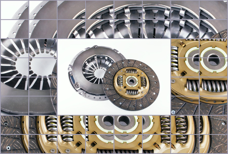 clutch cover: Clutch disc, clutch cover for car on a white background
