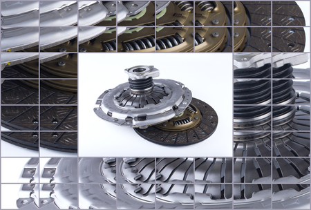 clutch cover: Clutch disc, clutch cover and bearing for car on a white background