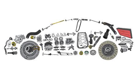 repuestos de carros: Pintado de coches y construido a partir de una variedad de piezas Vectores