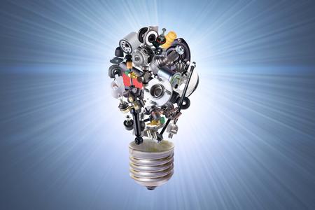 lampadina elettrica con i pezzi di ricambio per auto