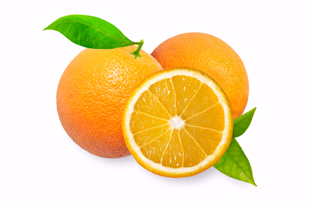 orange colour: Orange fruit with leaves isolated on white background