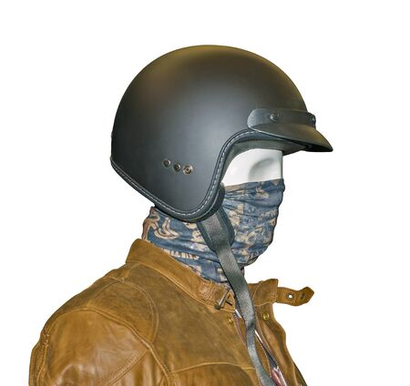 biker: Close up view bikers face of mannequin in helmet isolated on a white background
