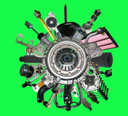 clutch cover: Many new spare parts for a car isolated on green screen, chroma key