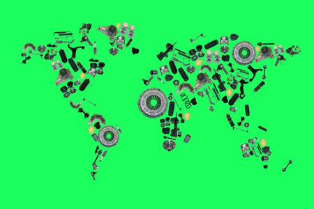 spare: World map from lot of car spare parts isolated on green screen, chroma key Stock Photo