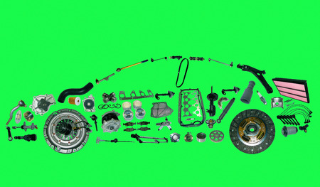 spare: car from lot of spare parts isolated on green screen, chroma key Stock Photo