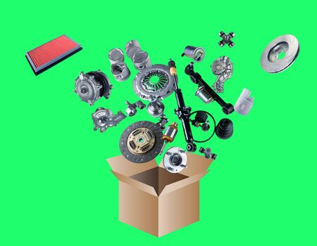 clutch cover: Many spare parts flying out of the box isolated on green screen, chroma key