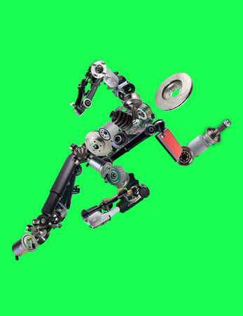 spare: Many new spare parts in the form of running man isolated on green screen, chroma key Stock Photo