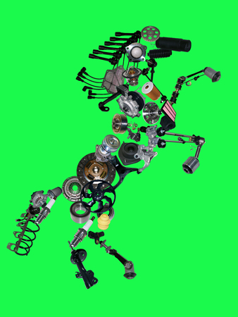 spare: Many new spare parts in the form of a horse isolated on green screen, chroma key