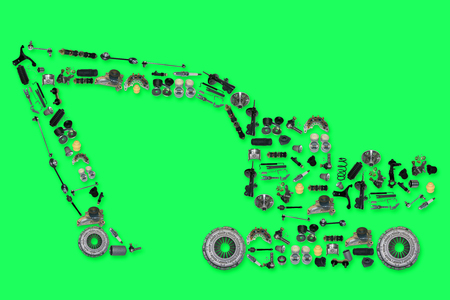 spare: Many new spare parts in the form of excavator horse isolated on green screen, chroma key