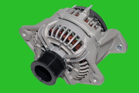 alternator: Alternator. Image of car alternator isolated on green background. Chromakey Green Screen