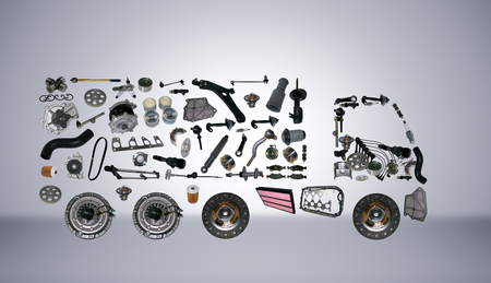 spare parts: Images truck assembled from new spare parts. Cargo shop Stock Photo