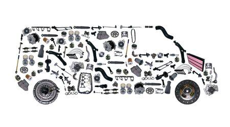 Imágenes de autobús monta a partir de piezas de recambio nuevas. tienda de carga Foto de archivo