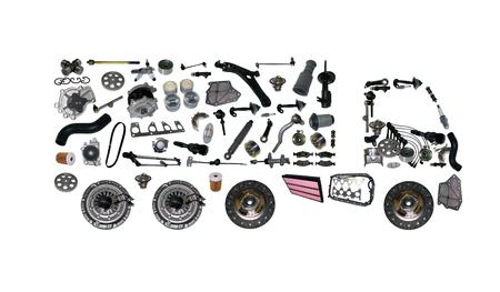 画像のトラックは、新しいスペア部品から組み立てられます。貨物ショップ 写真素材
