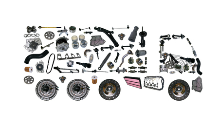 Images truck assembled from new spare parts. Cargo shop Foto de archivo