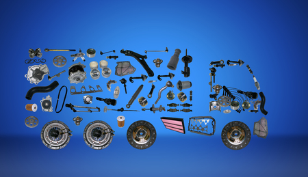 Images truck assembled from new spare parts. Cargo shop Stock Photo