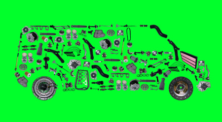 spare parts: Images bus assembled from new spare parts. Cargo shop