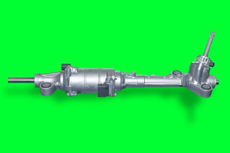 aftermarket: Car steering gear isolated on green background. New spare parts for passeger car. Chassis parts for aftermarket. Green chromakey