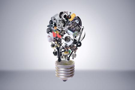 original idea: Auto spare parts items in bulb idea. New original equipment spare parts make bulb idea. Many auto spare parts. OEM spare parts in bulb. Auto parts like idea. Stock Photo