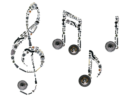 spare parts: Treble clef assembled from new auto, spare parts. Spare parts for shop, aftermarket, OEM. Treble clef with spare parts. New spare parts for shop. Many auto spare parts for car