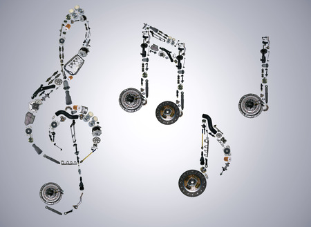 Treble clef assembled from new auto, spare parts. Spare parts for shop, aftermarket, OEM. Treble clef with spare parts. New spare parts for shop. Many auto spare parts for car