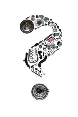 aftermarket: Question mark with auto parts for car. Auto parts for car. Auto parts for shop, aftermarket OEM. Question mark with auto parts. Many auto spare parts isolated in exclamation point