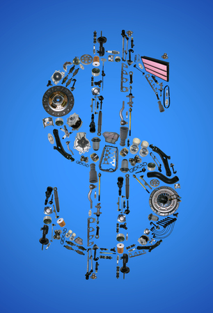 aftermarket: Dollar money with auto parts for car. Auto parts for car. Auto parts for shop, aftermarket OEM. Dollar with auto parts. Many auto spare parts isolated in money dollar