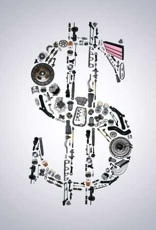 clutch cover: Dollar money with auto parts for car. Auto parts for car. Auto parts for shop, aftermarket OEM. Dollar with auto parts. Many auto spare parts isolated in money dollar