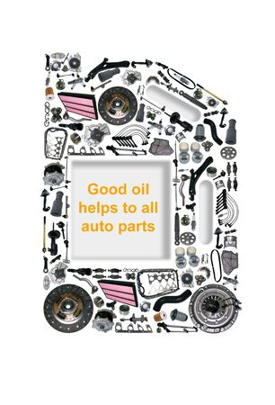 liter: Four or five liter canister of engine oil. Canister oils collected from auto parts. Spare parts of original and aftermarket for passenger cars. Canister gear oil with spare parts and auto parts. Stock Photo