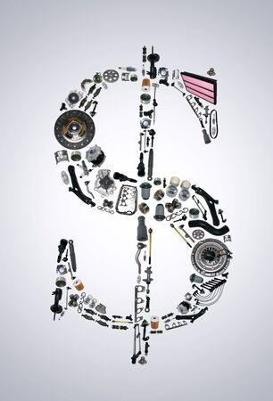 clutch cover: Dollar money with auto parts for car. Spare parts for car for shop, aftermarket OEM. Dollar icon. Many auto parts isolated in money dollar