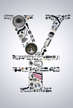 clutch cover: Japan yen money with auto parts for car. Spare parts for car for shop, aftermarket OEM. Yen icon. Many auto parts isolated in money japan yen
