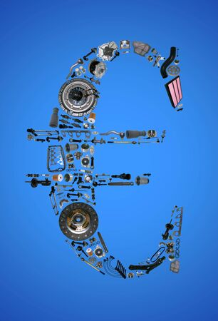 aftermarket: Euro money with auto parts for car. Spare parts for car for shop, aftermarket OEM. Euro icon. Many auto parts isolated in money euro Stock Photo
