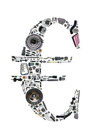 車用部品とユーロのお金。スペアパーツ ショップ、アフター マーケットの OEM 車。ユーロ アイコン。お金のユーロで分離された多くの自動車部品