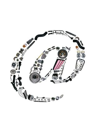 clutch cover: Dogbody or email icone with auto parts for car. Spare parts for car for shop, aftermarket OEM. Many auto parts isolated in email icone Stock Photo