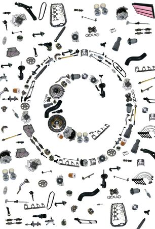 aftermarket: Copyright icone with auto parts for car. Spare parts for car for shop, aftermarket OEM. Many auto parts isolated in copyright icone Stock Photo