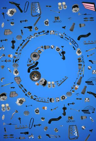 clutch cover: Copyright icone with auto parts for car. Spare parts for car for shop, aftermarket OEM. Many auto parts isolated in copyright icone Stock Photo