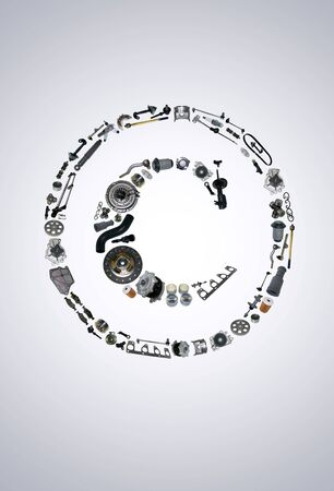 icone: Copyright icone with auto parts for car. Spare parts for car for shop, aftermarket OEM. Many auto parts isolated in copyright icone Stock Photo