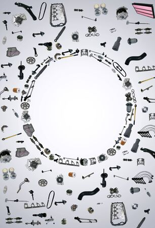 aftermarket: Spare parts car on the white background set. Many auto spare parts isolated. Spare parts for shop, aftermarket. Background with spare parts. New spare parts for shop. Many auto spare parts for car OEM