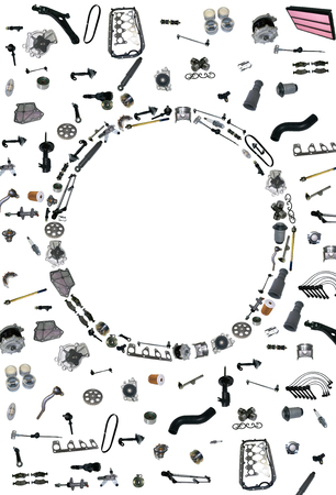 Spare parts car on the white background set. Many auto spare parts isolated. Spare parts for shop, aftermarket. Background with spare parts. New spare parts for shop. Many auto spare parts for car OEM