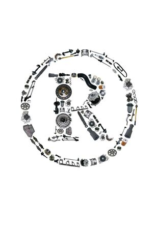 aftermarket: Trade Mark icone with auto parts for car. Spare parts for car for shop, aftermarket OEM. Many auto parts isolated in Trade Mark icone. Car parts