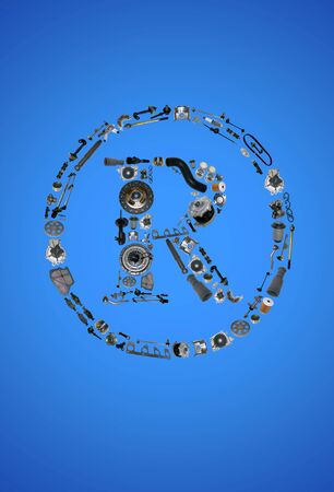 Trade Mark icone with auto parts for car. Spare parts for car for shop, aftermarket OEM. Many auto parts isolated in Trade Mark icone. Car parts