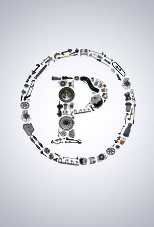 gasket: Copyright icone with auto parts for car. Spare parts for car for shop, aftermarket OEM. Many auto parts isolated in copyright icone Stock Photo