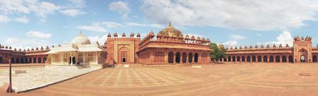 fatehpur: Panorama with high resolution of Tomb of Salim Chishti. Buland Gate, Dadupura, Fatehpur Sikri. Attractions India, vintage old palace. Stock Photo