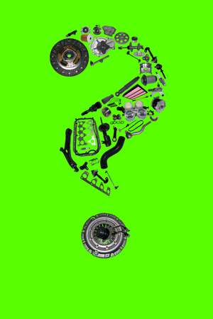 clutch cover: Question mark with auto parts for car. Auto parts for shop, aftermarket OEM. Question mark with auto parts. Many auto spare parts isolated in Question mark on green screen, chroma key Stock Photo
