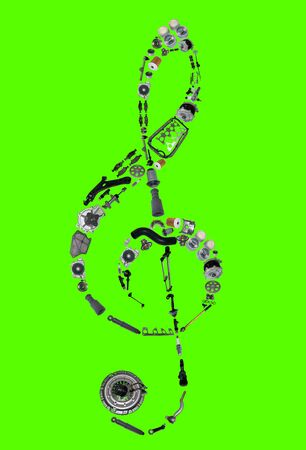 gasket: Treble clef assembled from new auto, spare parts. Spare parts for shop, aftermarket, OEM. Treble clef with parts. New spare parts for shop. Auto parts for car isolated on green screen, chroma key Stock Photo