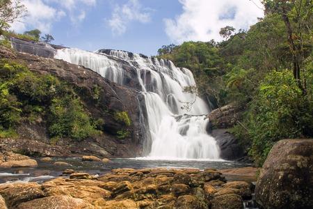 plains: Bakers falls. Horton plains national park. Sri Lanka. Panorama