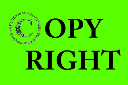 Copyright icone with auto parts for car. Spare parts for car for shop, aftermarket OEM. Many auto parts isolated in copyright icone on green screen, chroma key Stock Photo