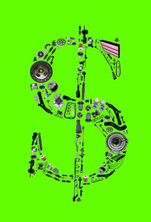 clutch cover: Dollar money with auto parts for car. Auto parts for car. Auto parts for shop, aftermarket OEM. Dollar with auto parts. Many auto spare parts isolated on green screen, chroma key