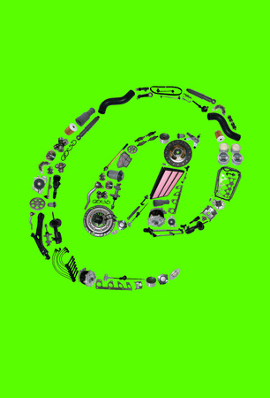 icone: Dogbody or email icone with auto parts for car. Spare parts for car for shop, aftermarket OEM. Many auto parts isolated in email icone on green screen, chroma key