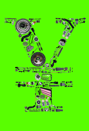 aftermarket: Japan yen money with auto parts for car. Spare parts for car for shop, aftermarket OEM. Yen icon. Many auto parts isolated in money japan yen on green screen, chroma key
