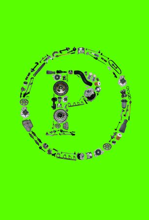 icone: Copyright icone with auto parts for car. Spare parts for car for shop, aftermarket OEM. Many auto parts isolated in copyright icone on green screen, chroma key Stock Photo